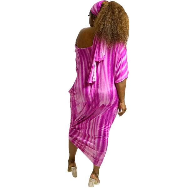 Tie Dye Striped One Shoulder Batwing Sleeve Boho Long Backless Loose Dress With Scarf