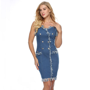 Button Strap Back Zipper Bodycon Mini Denim  Dress