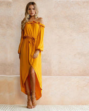 Load image into Gallery viewer, Slash Neck Off The Shoulder Ruffles Tunic Boho Maxi Long Sleeve Dress - kats closet1