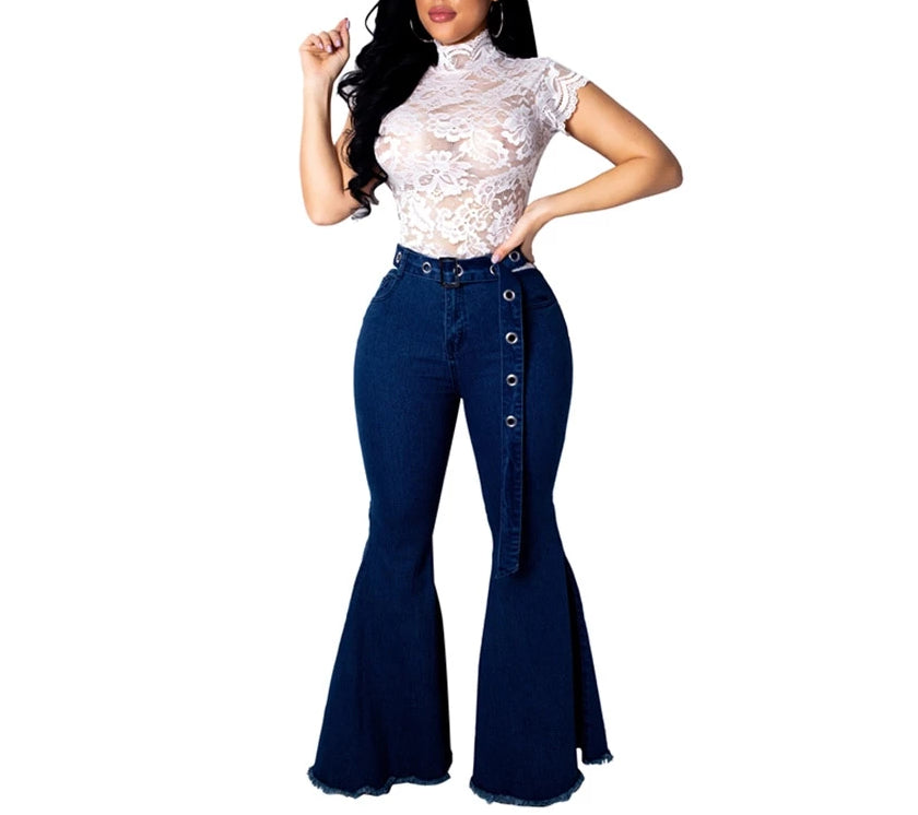 Casual Flare Blue Bell Bottom Skinny Wide Leg Jean Pants