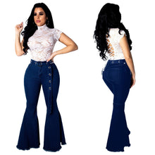 Load image into Gallery viewer, Casual Flare Blue Bell Bottom Skinny Wide Leg Jean Pants