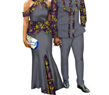 Load image into Gallery viewer, Two Piece Set African Dashiki Print Couple Men's Suit Plus Women's Party Maxi Dress