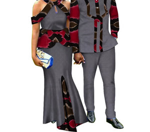 Two Piece Set African Dashiki Print Couple Men's Suit Plus Women's Party Maxi Dress