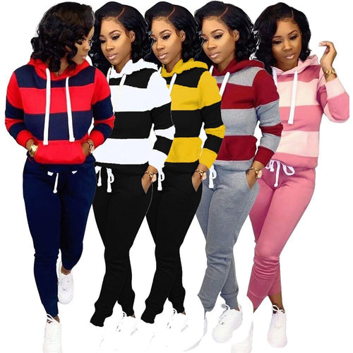 Two Piece Striped Hooded Sweatshirt And Pants Set