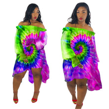 Load image into Gallery viewer, Tie Dye  Loose Off Shoulder Chiffon Neon Rainbow Dress