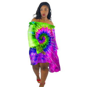 Tie Dye  Loose Off Shoulder Chiffon Neon Rainbow Dress