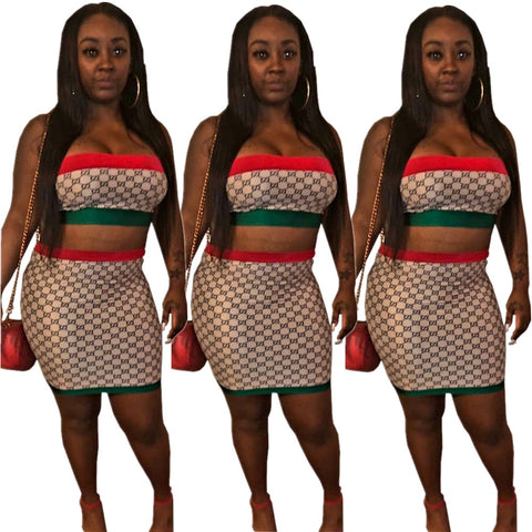 Two Piece Strapless Top And Mini Skirt Set