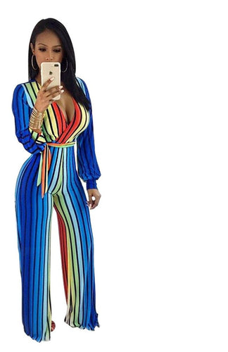 V-Neck Long Bodycon Striped Jumpsuit - kats closet1