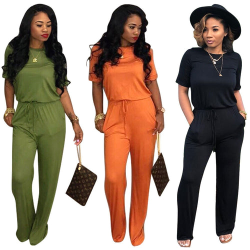 Solid Short Sleeve 3 Colors Jumpsuit - kats closet1