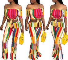 Load image into Gallery viewer, 2-Pieces Slash Neck Short Sleeve Colorful Set