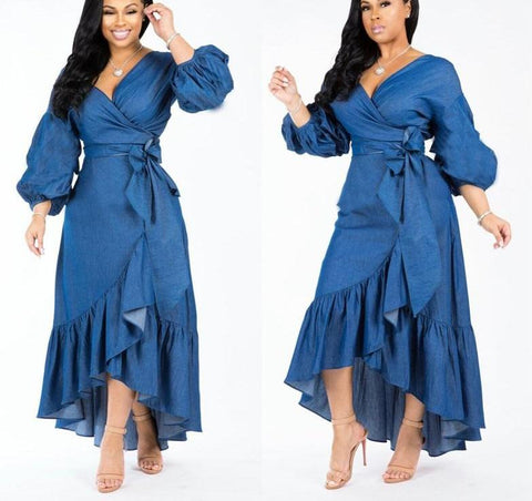 Solid Ruffles Long V-Neck Full Sleeve Lace Up Denim Dress