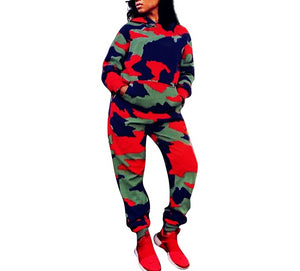 2 Piece Camouflage Hooded Long Sleeve Set