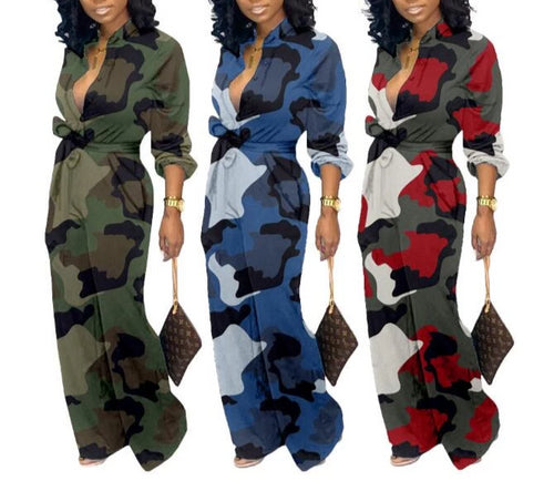 Camouflage Casual Tide V-Neck Long Sleeve Romper/ Jumpsuit