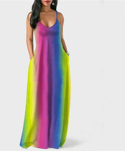 Tie Dye Fare Spaghetti Strap Deep V-Neck Maxi Dress