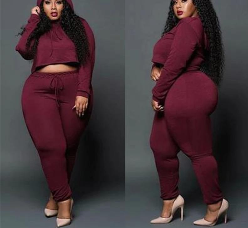 Two Piece Plus Size Hooded Long Sleeve Top And  Pants Set