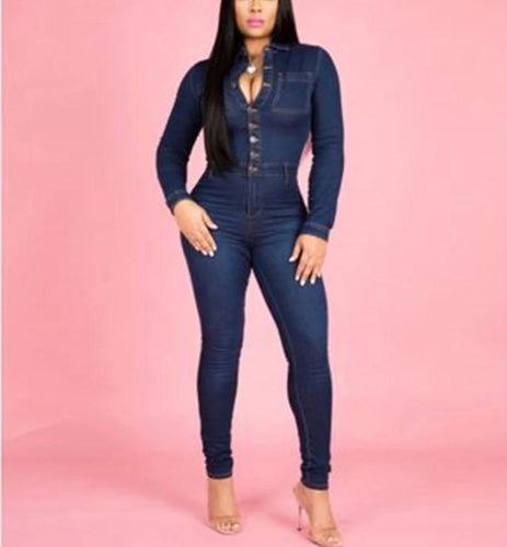 Solid Long Sleeve Button Skinny Fit Jumpsuit