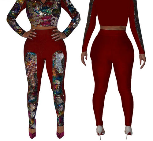 2 Piece Sequined V-Neck Long Sleeve Top And Pants Set