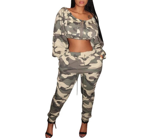 2 Piece Set Camouflage O-Neck Long Sleeve Top And Pants