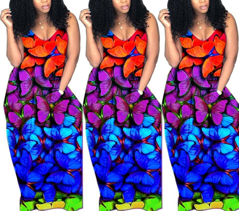 Butterfly Print Spaghetti Strap Loose Maxi Dress