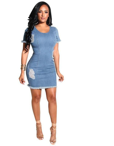 Short Sleeve Bodycon Mini Denim Dress