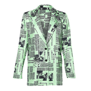 Letter Newspaper Print Long Sleeve Green Jacket