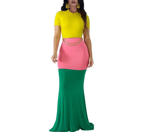 Color Block Long Short Sleeve Mermaid Maxi Dress