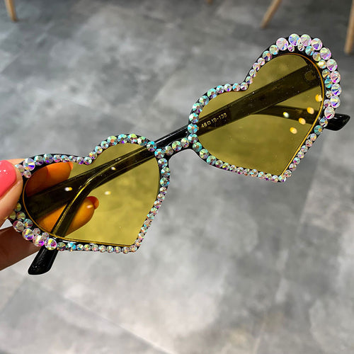 Vintage Heart Rhinestone Decoration Sunglasses