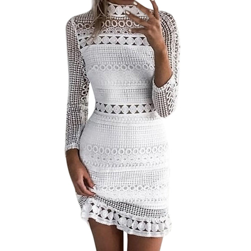 White Lace Long Sleeve Stand Neck Mini Dress - kats closet1
