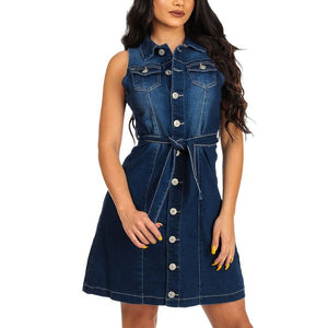 Short Sexy Denim Slim A Line Cowboy Dress With Belt