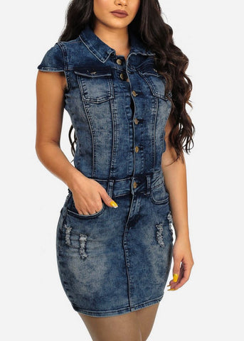 Women Jean Mini Sexy Hip Denim Slim Casual Tunic Dress