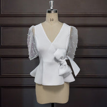Load image into Gallery viewer, White V Neck Thin Transparent Puff Sleeves Beading Blouse