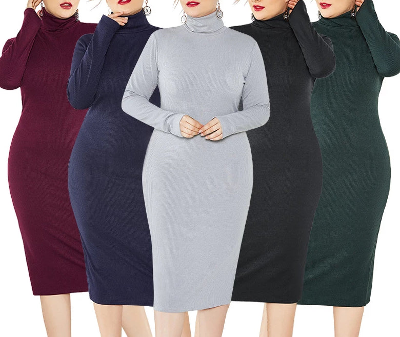 Winter Plus Size Knitted Long Sleeve Stretch Turtleneck Dress