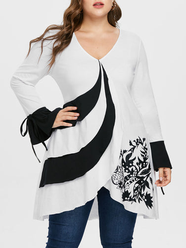 Two Tone V-Neck Flare Sleeve Casual Print Overlap Tunic Top