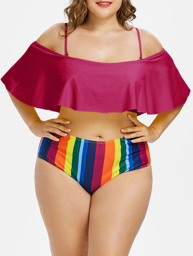 Plus Size Rainbow Striped Print Two Piece Padded Cold Shoulder High Waist Swimsuit