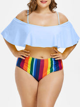 Load image into Gallery viewer, Plus Size Rainbow Striped Print Two Piece Padded Cold Shoulder High Waist Swimsuit