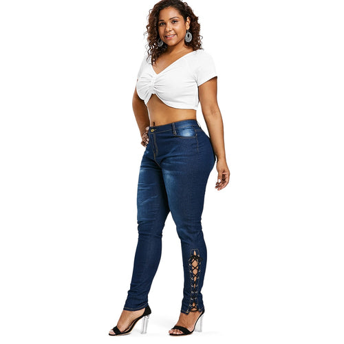 Plus Size Zipper Fly Side Lace Up Jeans - kats closet1