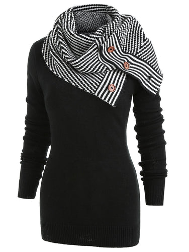 Pullover Buttons Crew Neck Long Sleeve Sweater With Striped Scarf