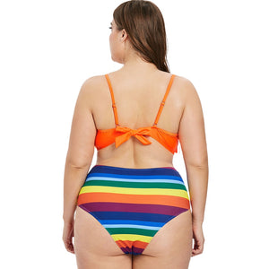 2 Piece Plus Size Striped Fringed Cami Rainbow Swimsuit