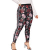 Plus Size Floral Print Elastic Fitness Leggings