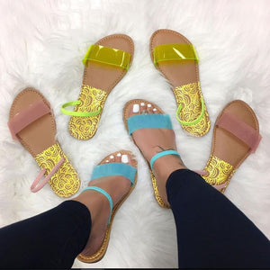 Transparent Jelly Soft Elastic Band Open Toe Sandals