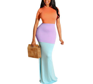Color Block O-neck Short Sleeve Zipper Up Maxi Dress