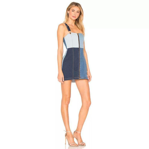 Off Shoulder Spaghetti Strap Denim Dress