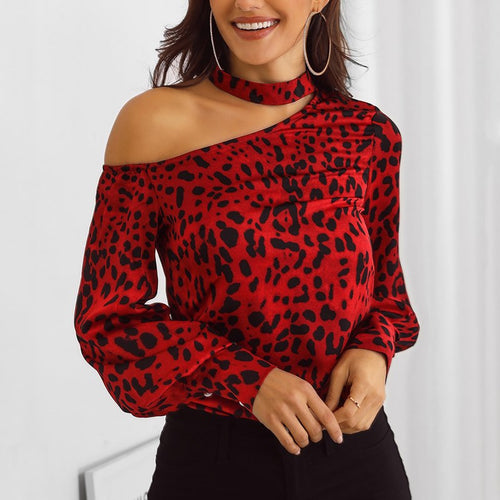 Elegant Leopard Print Choke Top Cut Out Shoulder Blouse - kats closet1