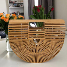 Load image into Gallery viewer, Bamboo Bag Handmade Woven Round Handbag