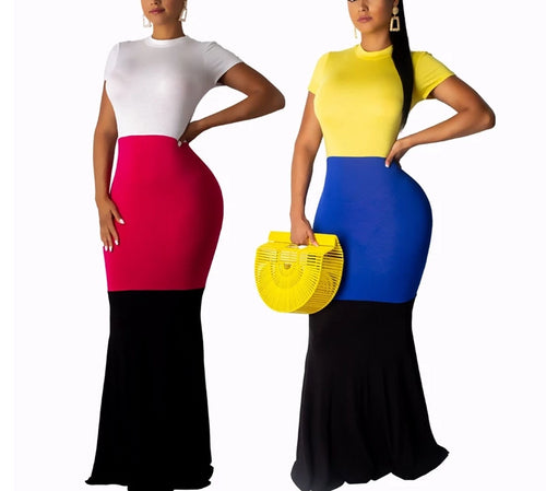 Long Maxi Short Sleeve Casual Color Block Mermaid Dress