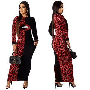 Long Sleeve O-Neck Velvet Long  Ankle -Length Mouth Leopard Print Dress