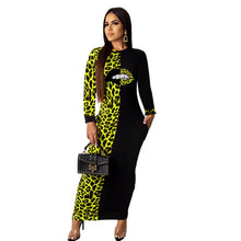Load image into Gallery viewer, Long Sleeve O-Neck Velvet Long  Ankle -Length Mouth Leopard Print Dress