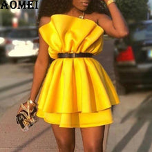 Load image into Gallery viewer, Pleated Patchwork Tube Tops Off Shoulder Backless Dinner Tunic Dress