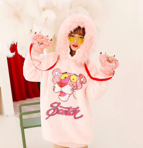 Pink Panther Patchwork Sequins Design Hoodie Fur Collar Plus Size Loose Pullover - kats closet1