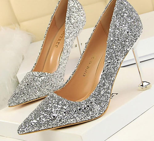 High Heels Silver Wedding Stiletto Party Shoes